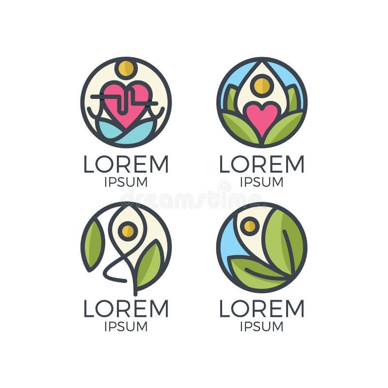 Insieme di logo di yoga illustrazione di stock