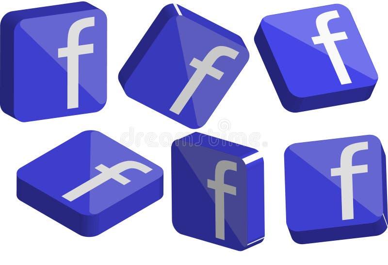 Insieme di logo di Faceboook 3D illustrazione di stock