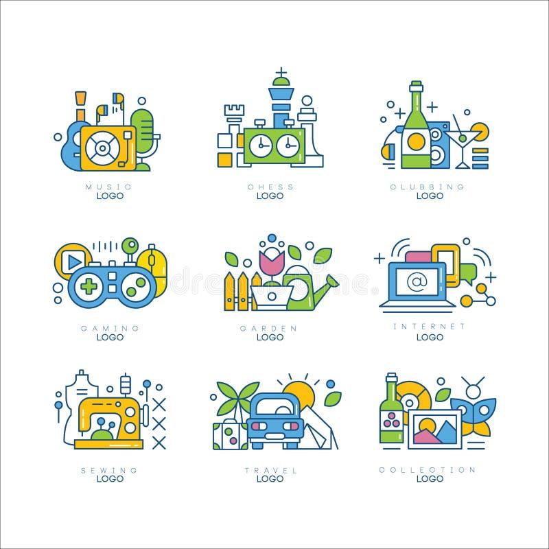 Insieme di logo, musica, scacchi, clubbing, gioco, giardino, Internet, cucire, viaggio, etichette della raccolta, creatività, sci illustrazione di stock