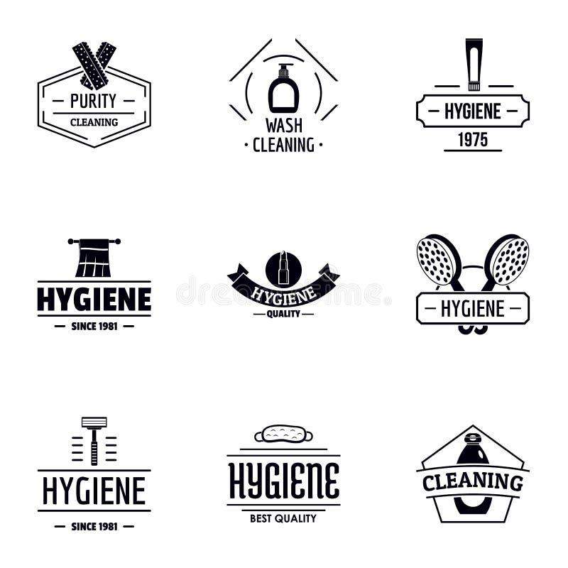 Insieme di logo di pulizia personale, stile semplice illustrazione di stock