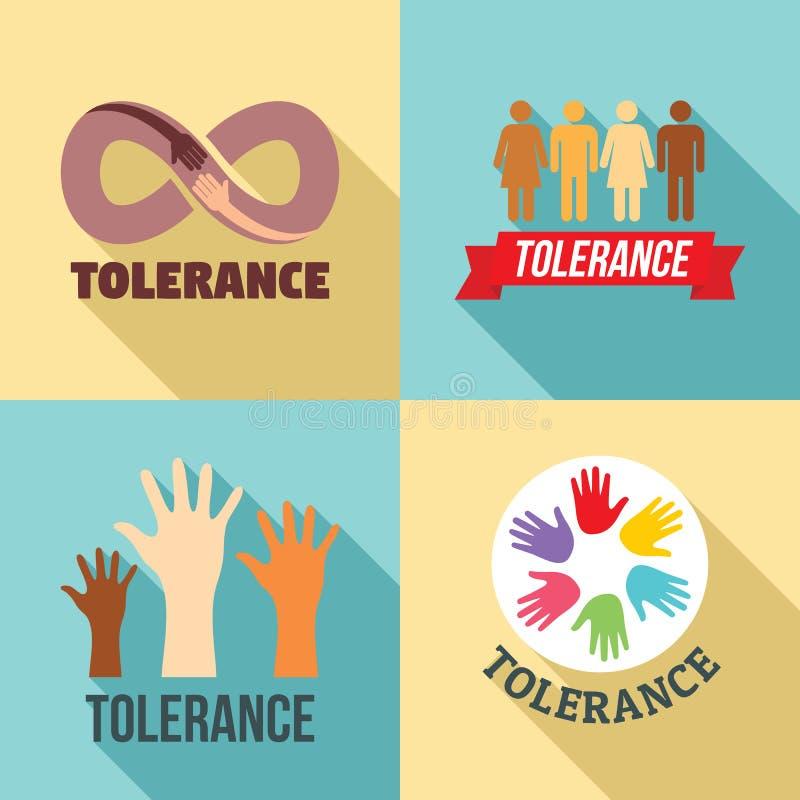 Insieme di logo di tolleranza, stile piano royalty illustrazione gratis
