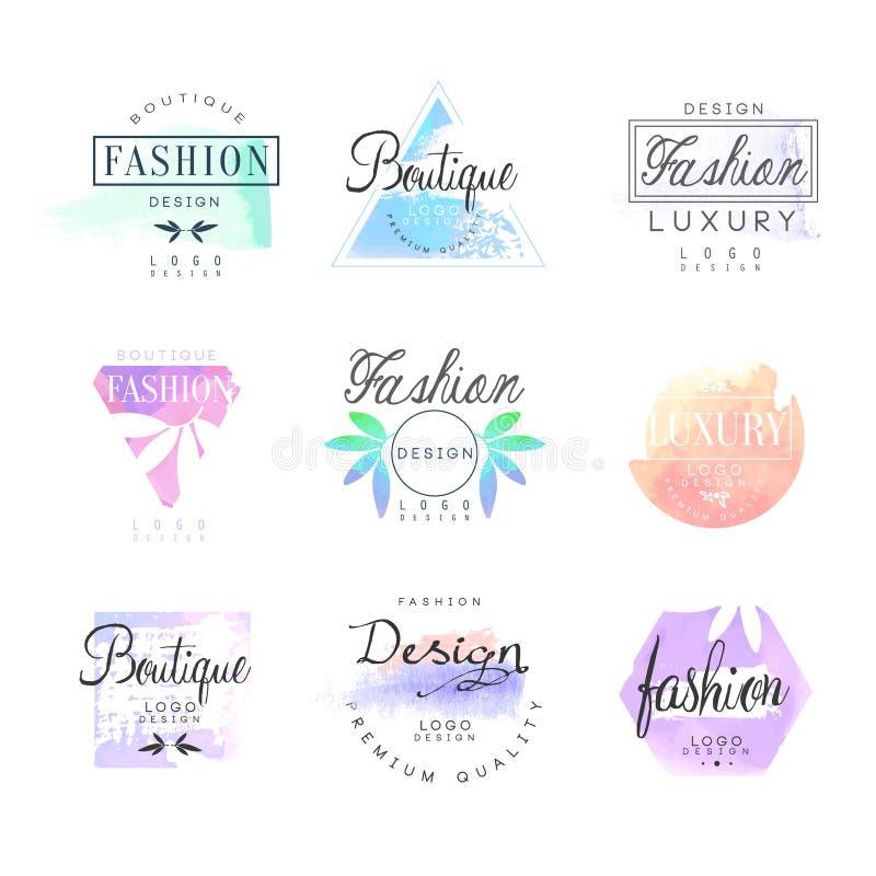 Insieme di lusso del boutique di modo per progettazione di logo, illustrazioni variopinte di vettore illustrazione vettoriale