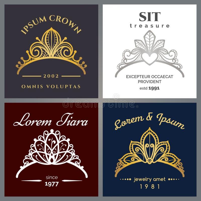 Insieme di lusso di logo del diadema illustrazione di stock