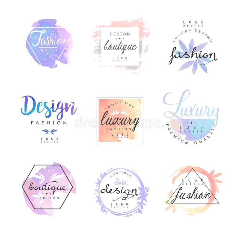 Insieme di lusso di progettazione di logo del boutique di modo, illustrazioni variopinte di vettore illustrazione di stock
