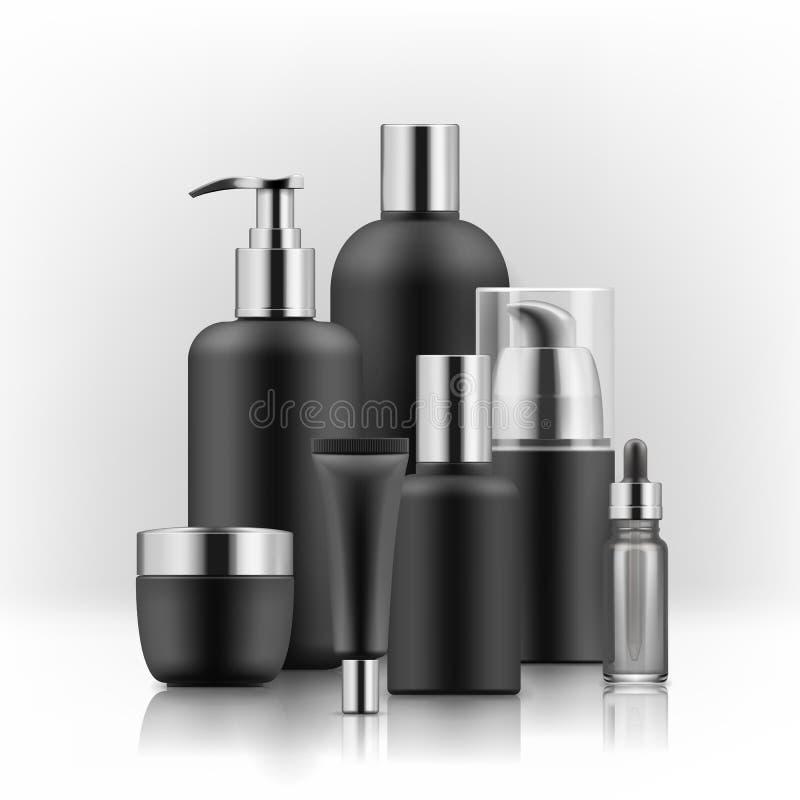 Insieme di lusso realistico delle bottiglie cosmetiche, modello, 3D di marca premio illustrazione di stock