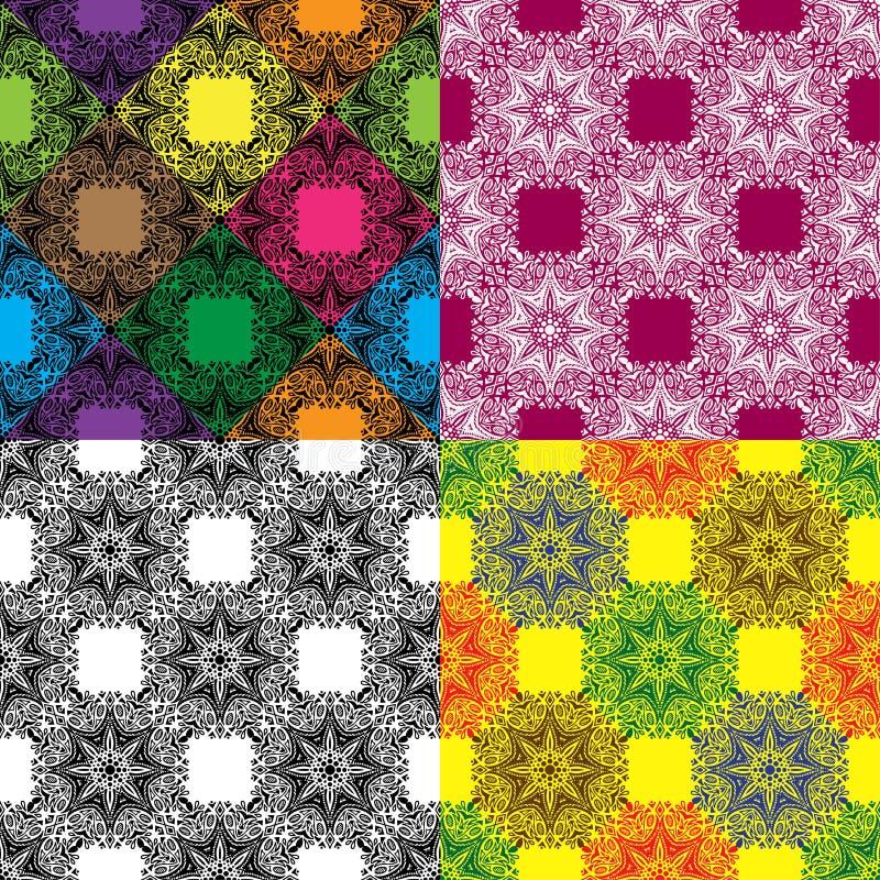 Insieme di Mandala Color Pattern senza cuciture royalty illustrazione gratis