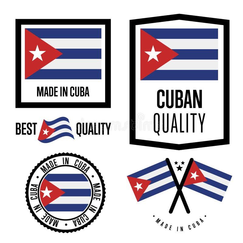 Insieme di marchio di qualità di Cuba per le merci illustrazione di stock