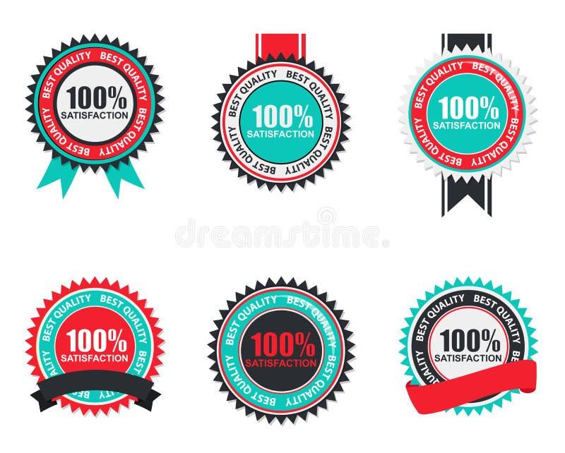 Insieme 100% di marchio di qualità di soddisfazione di vettore nella progettazione moderna piana illustrazione di stock