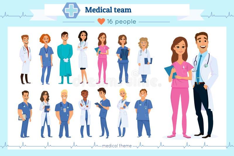 Insieme di medici del gruppo, infermieri e personale medico, isolati su bianco Nazionalità differenti Stile piano Gruppo di medic illustrazione vettoriale
