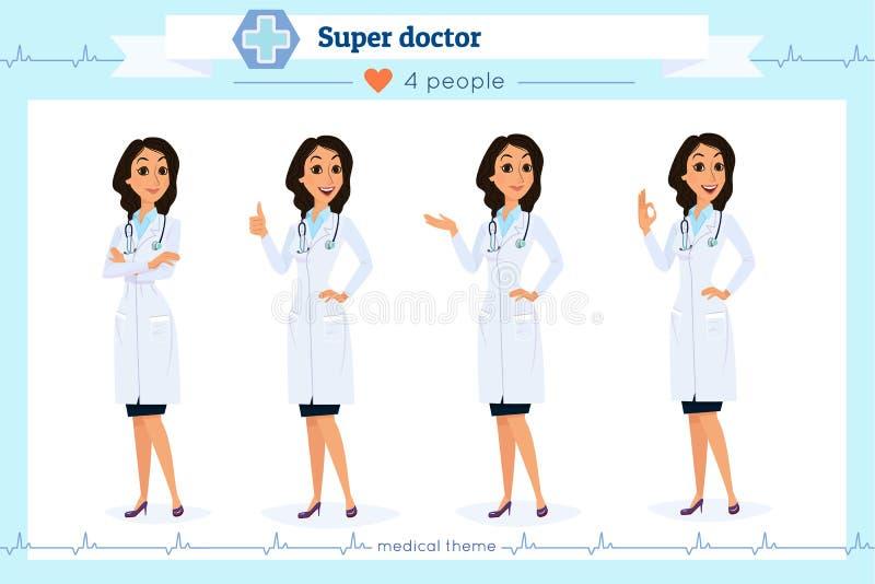 Insieme di medico astuto che presenta in varia azione, isolato su bianco Stile piano del fumetto Gruppo di medici dell'ospedale C illustrazione di stock