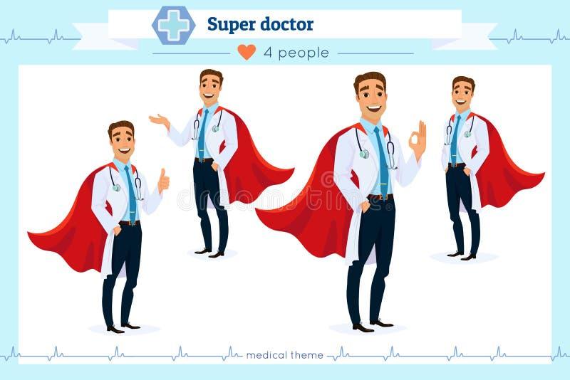 Insieme di medico eccellente astuto che presenta in varia azione, isolato su fondo bianco gesti differenti Stile piano del fumett illustrazione di stock