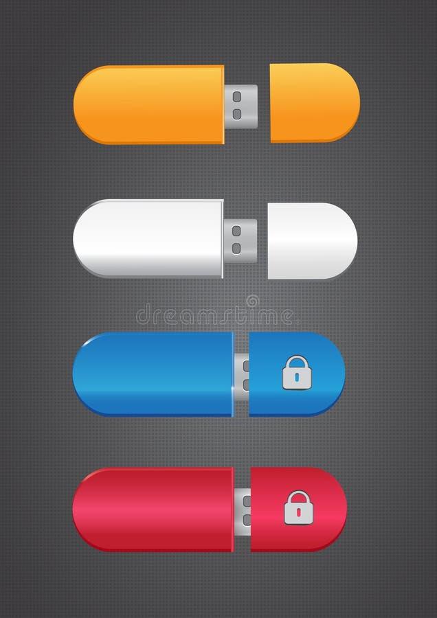 Insieme di memoria di USB Flash illustrazione di stock