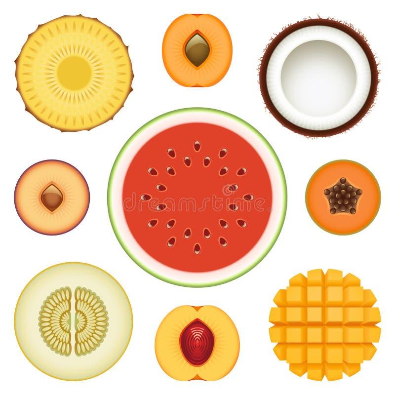 Insieme di metà della frutta illustrazione di stock
