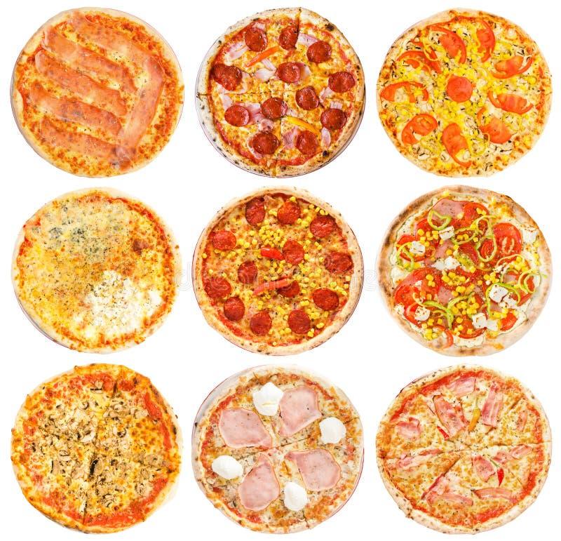 Insieme di migliori pizze italiane isolate su bianco immagine stock libera da diritti
