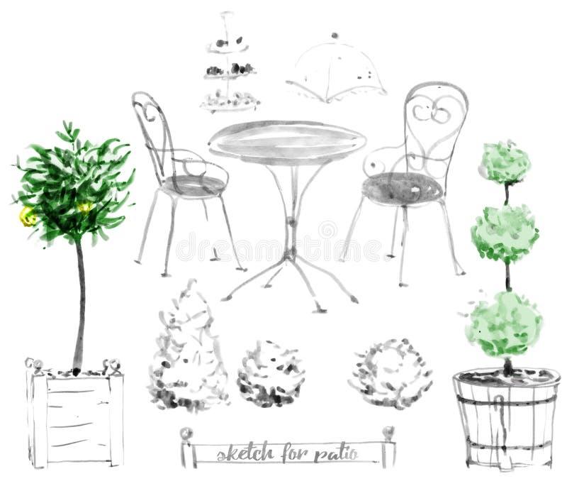 insieme di mobili da giardino per il patio illustrazione