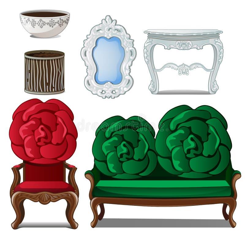 Insieme di mobilia classica e della decorazione interna Elementi decorativi domestici nello stile antico Immagine nello stile del illustrazione vettoriale