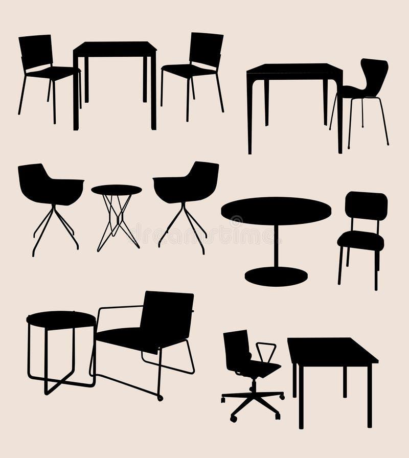 Insieme di mobilia. Tabelle e sedie.  siluetta illustrazione vettoriale