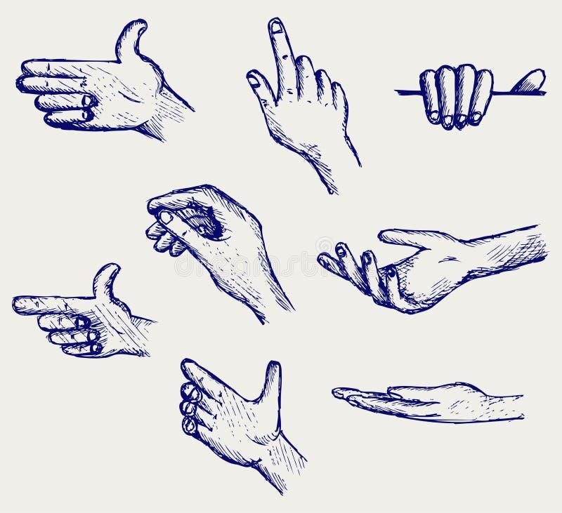 Insieme di molte mani differenti royalty illustrazione gratis