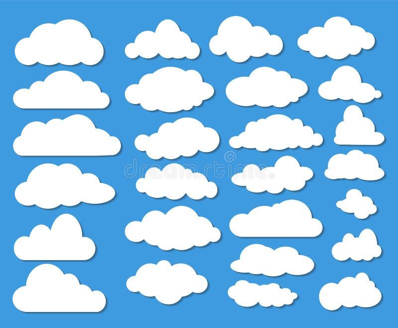 Insieme di molte nuvole di bianco con ombra su cielo blu Vettore di riserva I royalty illustrazione gratis