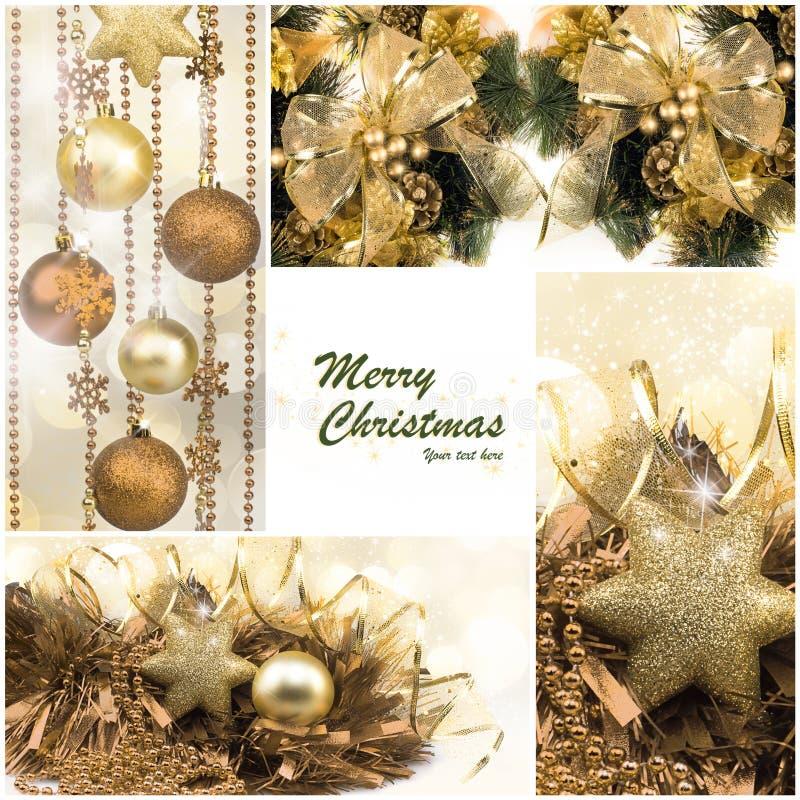 Insieme di natale Regali di vacanza invernale Collage dorato festivo fotografia stock libera da diritti