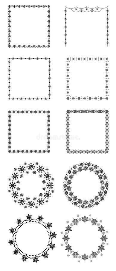 Insieme di natale in tondo e dei telai quadrati isolati su fondo bianco, illustrazione piana di vettore illustrazione vettoriale