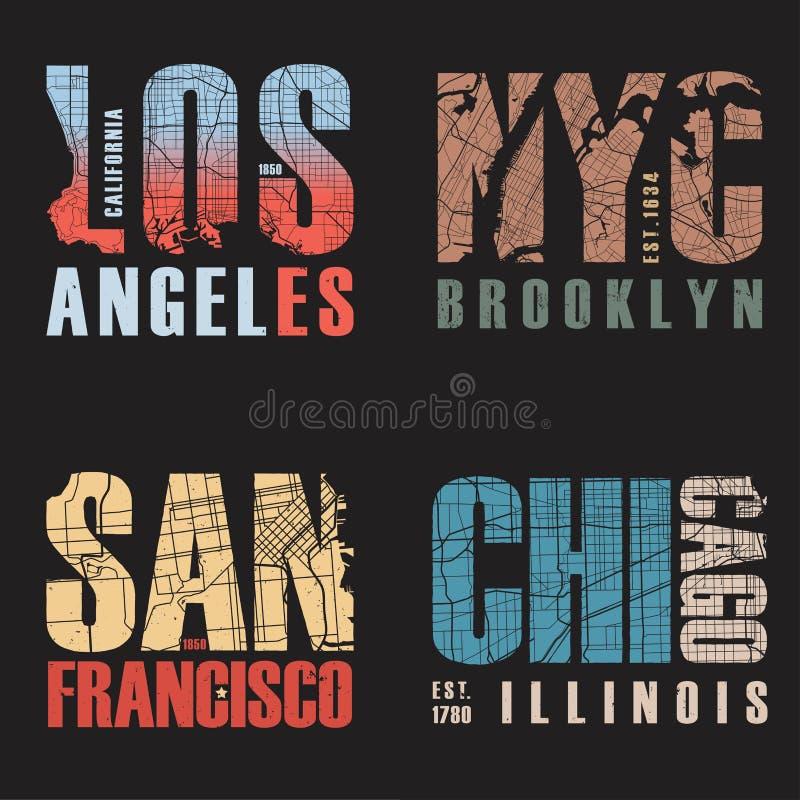 Insieme di noi progettazioni della maglietta delle città Illustrazione di vettore illustrazione di stock