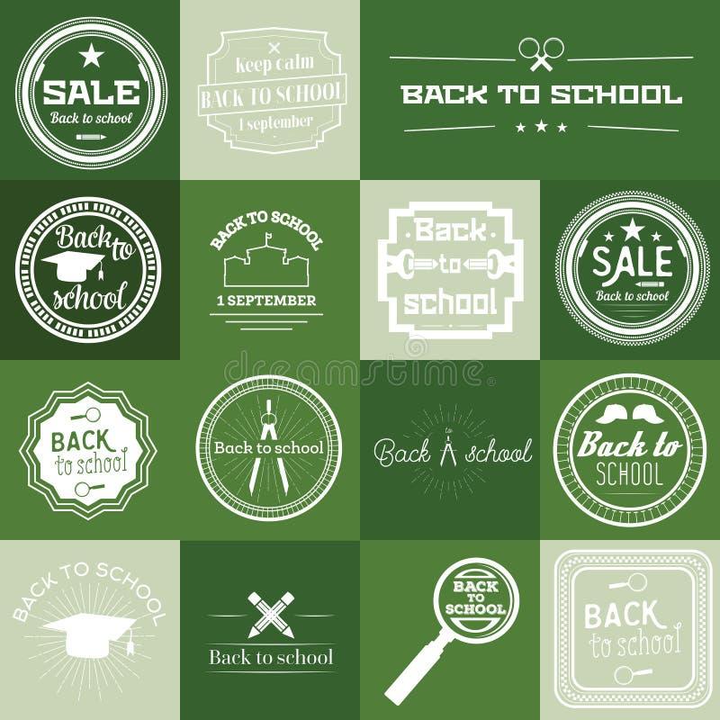 Download Insieme Di Nuovo All'etichetta Della Scuola Su Fondo Verde Illustrazione Vettoriale - Illustrazione di elementare, rotondo: 56875579