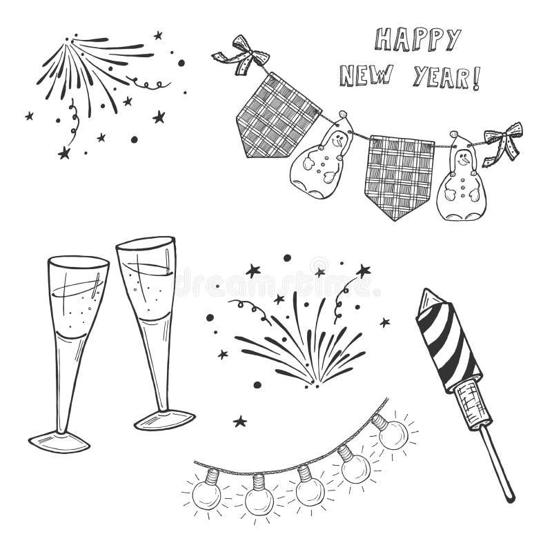 Insieme di nuovo anno felice illustrazione vettoriale