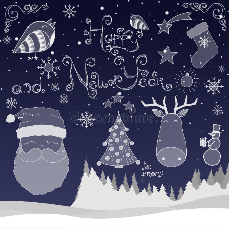Insieme di nuovo anno felice immagine stock