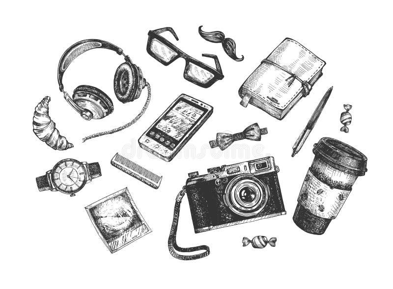 Insieme di oggetti Hipster illustrazione vettoriale