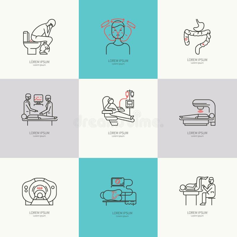 Insieme di oncologia delle icone royalty illustrazione gratis