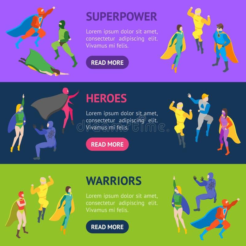 Insieme di orizzontale dell'insegna del Super Heroes della gente dei personaggi dei cartoni animati Vettore illustrazione vettoriale