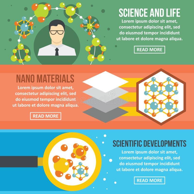 Insieme di orizzontale dell'insegna di scienza della molecola, stile piano illustrazione di stock