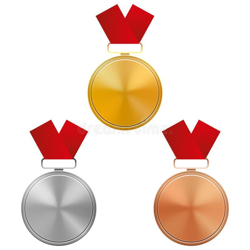 Insieme di oro, di argento e del modello delle medaglie di bronzo con i nastri rossi, isolati su fondo bianco royalty illustrazione gratis