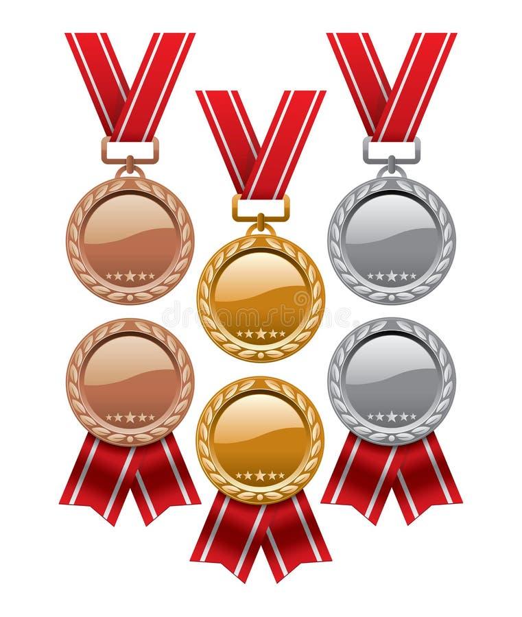Insieme di oro, di argento e delle medaglie di bronzo royalty illustrazione gratis