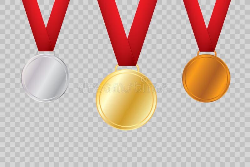 Insieme di oro, di bronzo e di argento Medaglie del premio isolate su fondo trasparente Illustrazione di vettore del concetto del illustrazione di stock