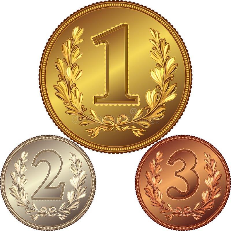 Insieme di oro, di argento e delle medaglie di bronzo illustrazione vettoriale