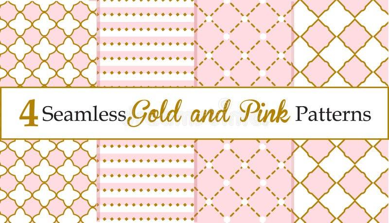 Insieme di oro senza cuciture e dei modelli rosa Modelli della neonata royalty illustrazione gratis