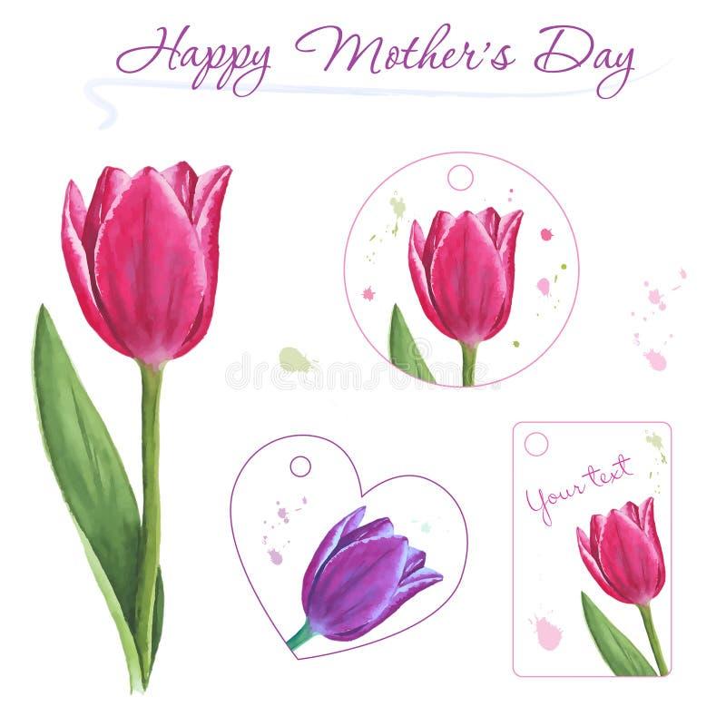 Insieme di piccole cartoline con i tulipani disegnati a mano Elementi di disegno grafico fotografia stock