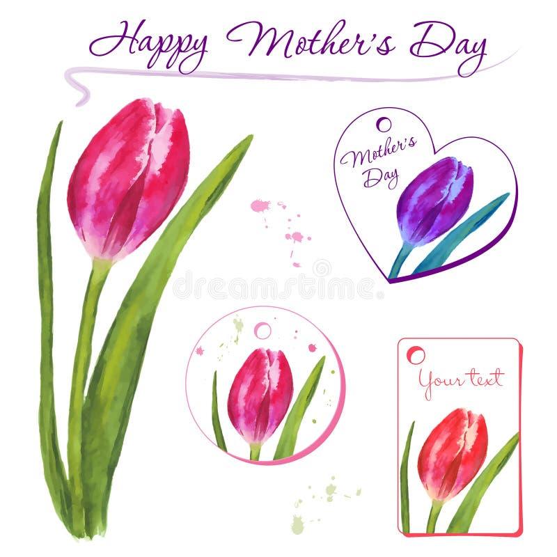 Insieme di piccole cartoline con i tulipani disegnati a mano Elementi di disegno grafico immagine stock libera da diritti
