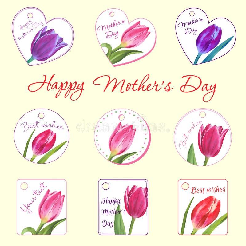 Insieme di piccole cartoline con i tulipani Fiore disegnato a mano immagini stock