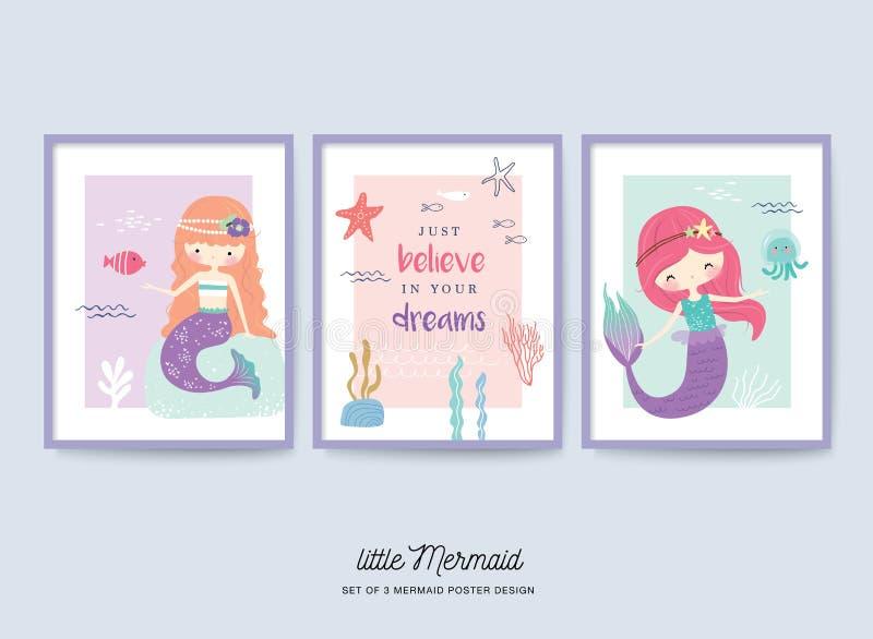 Insieme di piccolo manifesto sveglio della scuola materna della sirena illustrazione di stock