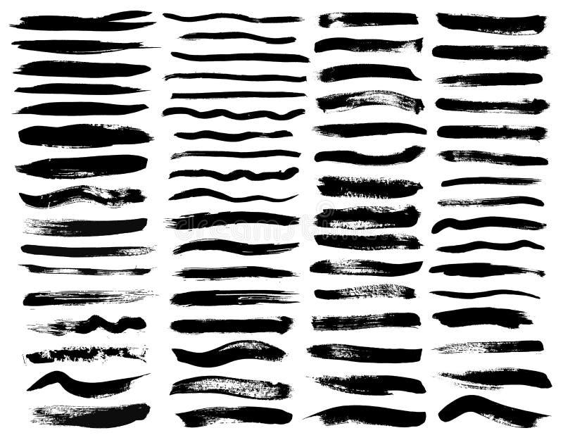 Insieme di pittura nera, colpi della spazzola dell'inchiostro, spazzole, linee Elementi artistici sporchi di progettazione illustrazione vettoriale