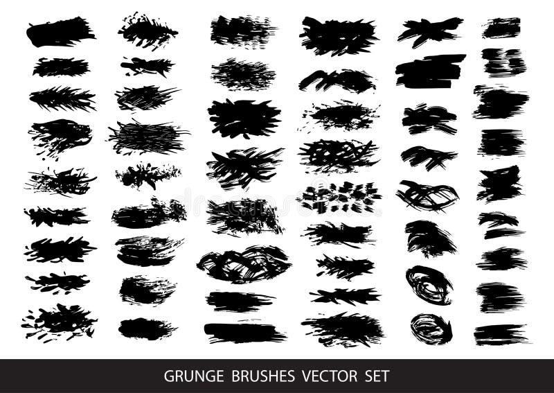Insieme di pittura nera, inchiostro, lerciume, colpi sporchi della spazzola Illustrazione di vettore illustrazione vettoriale