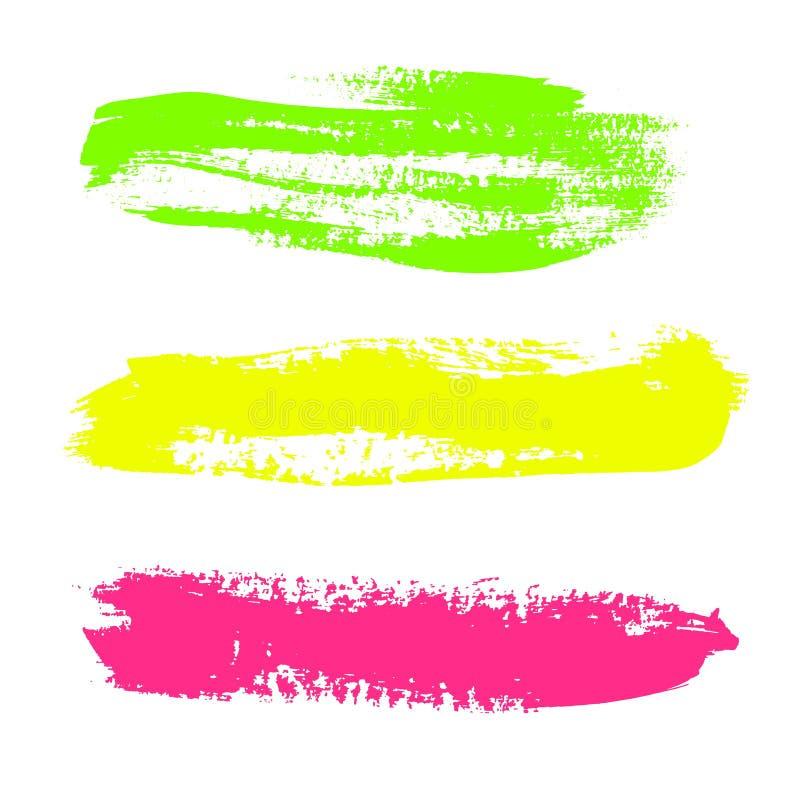 Insieme di pittura variopinta, colpi della spazzola dell'inchiostro, spazzole, linee Vettore sporco, elementi artistici di proget royalty illustrazione gratis