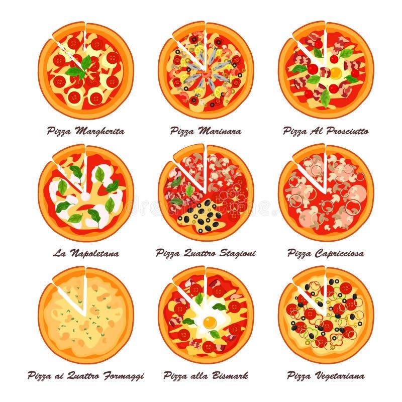 Insieme di pizza italiana Illustrazione creativa di vettore royalty illustrazione gratis