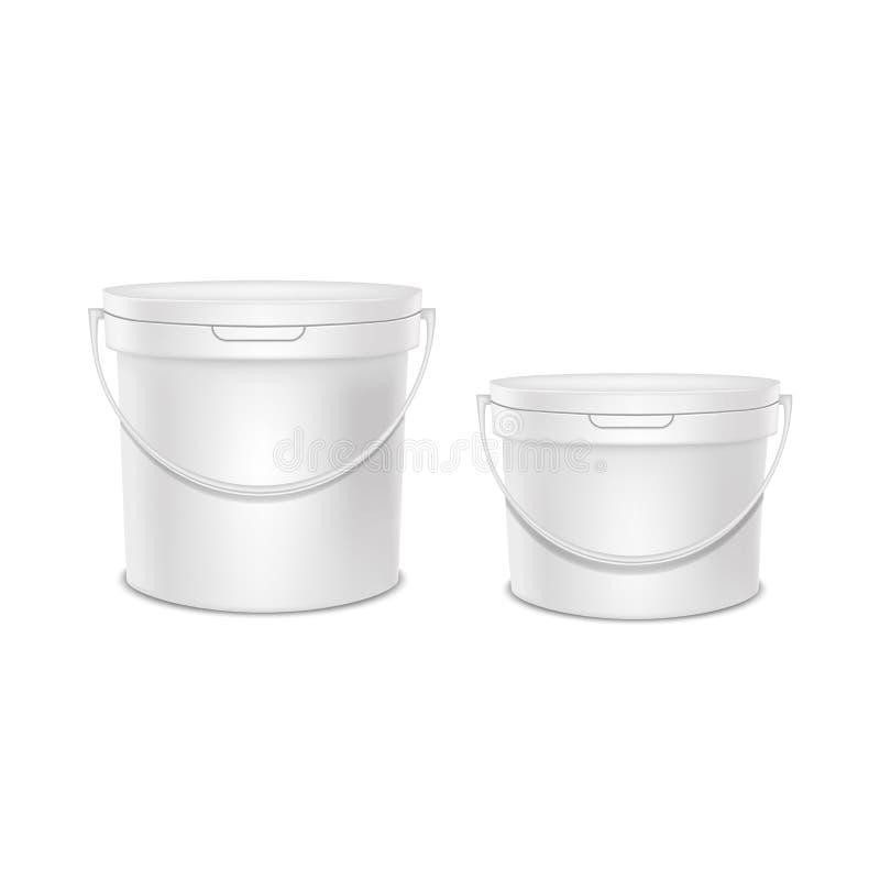 Insieme di plastica in bianco bianco dettagliato realistico del modello del modello del secchio 3d Vettore illustrazione di stock