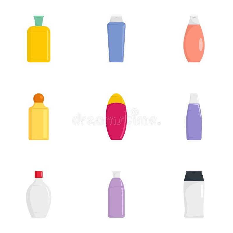 Insieme di plastica dell'icona della bottiglia, stile piano illustrazione di stock