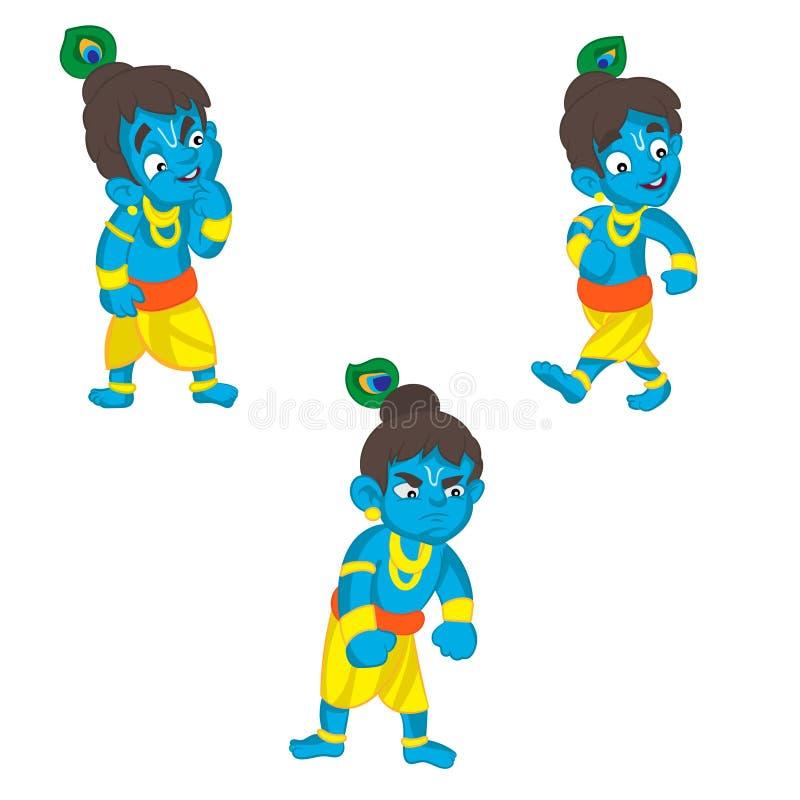 Insieme di poco Krishna Illustrazione del fumetto su un fondo bianco illustrazione di stock