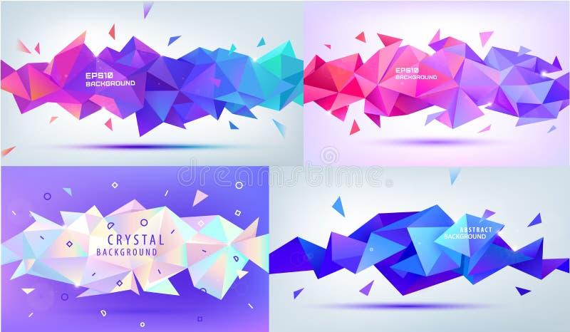 Insieme di poli basso, sfaccettatura, di vettore forme geometriche 3d Ambiti di provenienza multicolori moderni, insegne orizzont illustrazione vettoriale